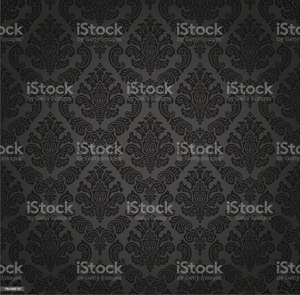 Seamless wallpaper in gray gradient Damask pattern vector art illustration