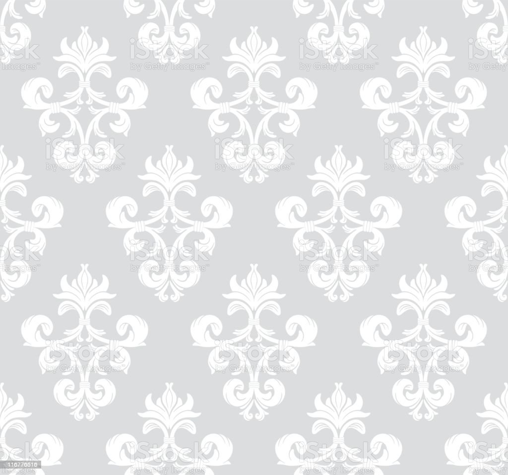 Seamless wallpaper of repeated pattern with gray backdrop royalty-free stock vector art