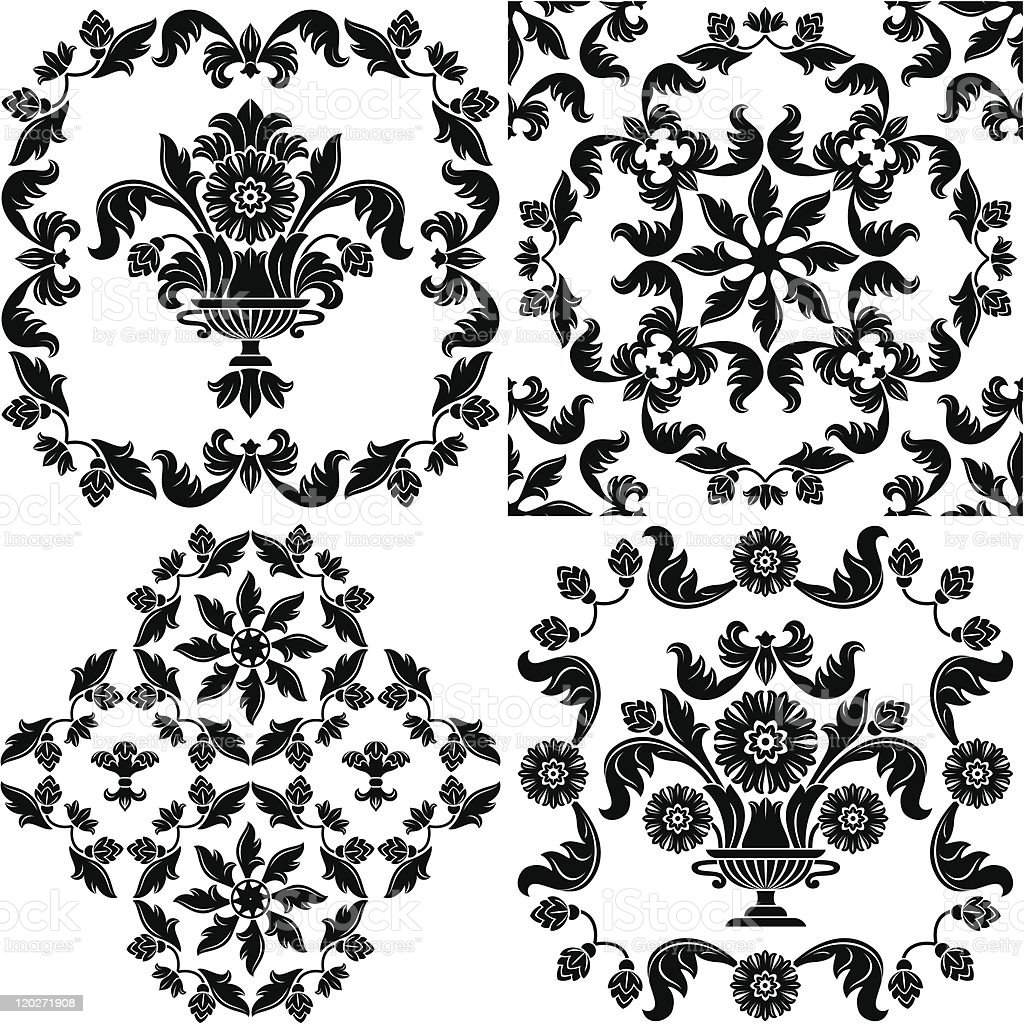 Seamless wallpaper pattern floral, elements, black and white royalty-free stock vector art