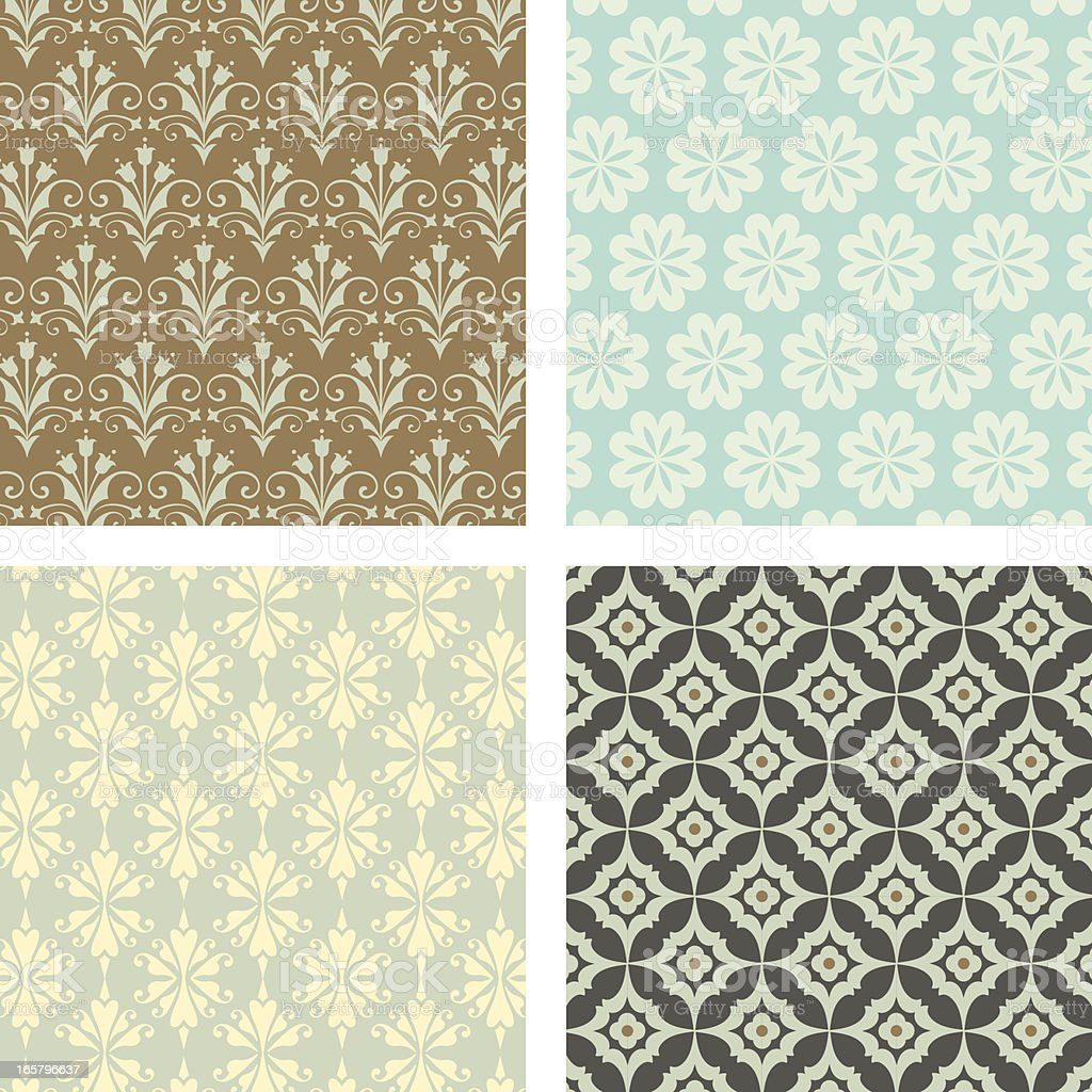 Seamless Wallpaper Pattern Set royalty-free stock vector art