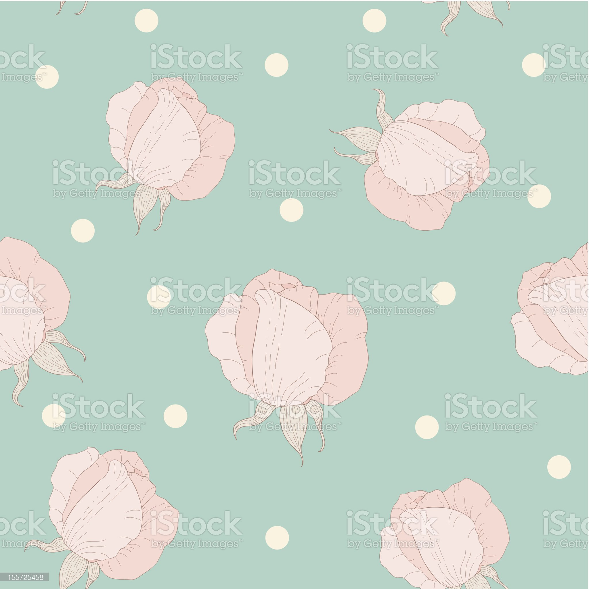 Seamless wallpaper pattern with roses. royalty-free stock vector art