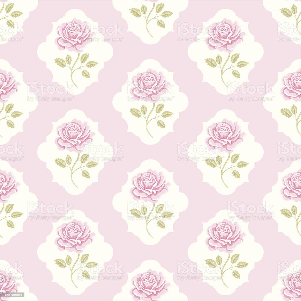 Seamless wallpaper pattern with roses royalty-free stock vector art