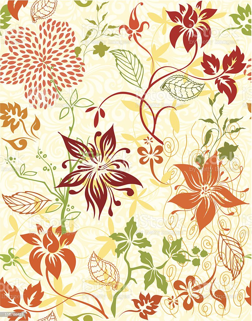 Seamless wallpaper with flowers 3 royalty-free stock vector art