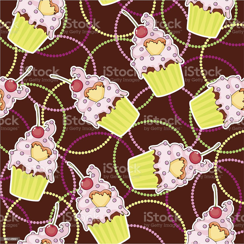 Seamless wallpaper with muffin royalty-free stock vector art