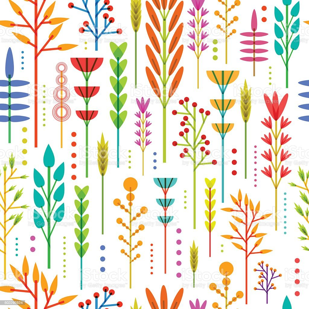 Seamless wallpaper with pattern of geometric flowers in Scandinavian style. vector art illustration