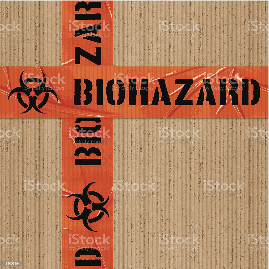 seamless warning biohazard tape tile on cardboard royalty-free stock vector art