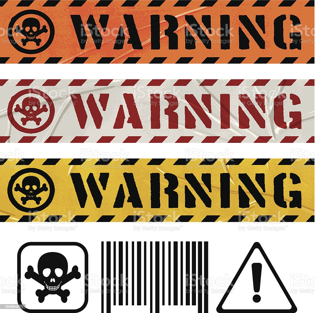 seamless warning duct tape banners royalty-free stock vector art