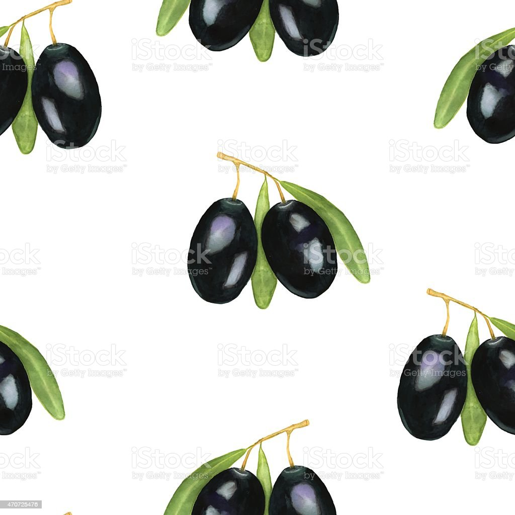 Seamless watercolor olives pattern. vector art illustration