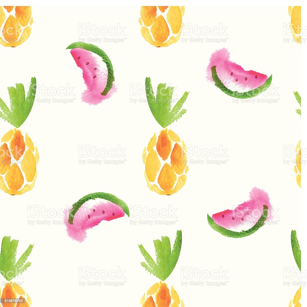 Seamless watercolor pattern with pineapple and watermelon vector art illustration