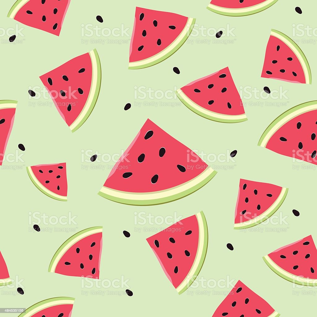 Seamless watermelon slices vector art illustration