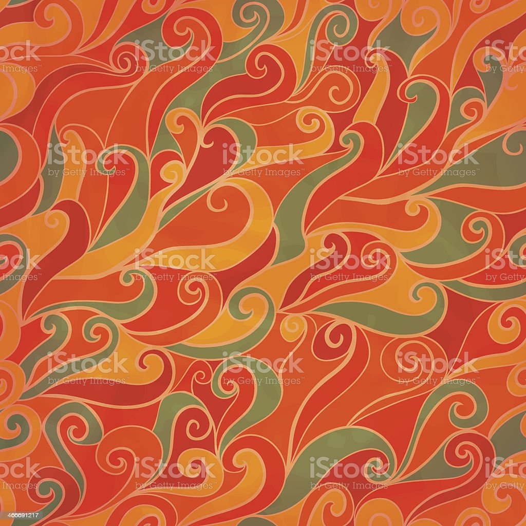 Seamless wave hand-drawn pattern, waves background (seamlessly t vector art illustration
