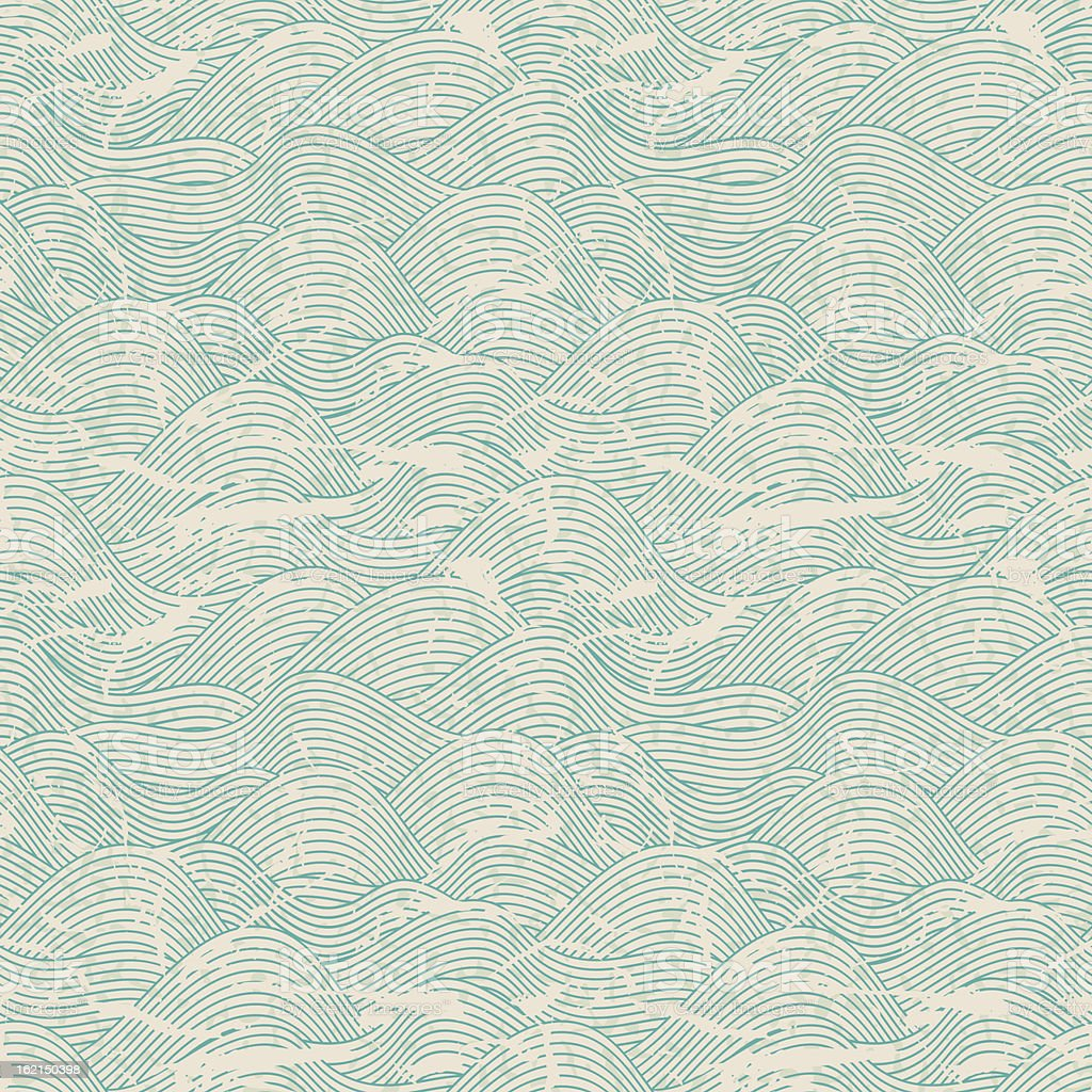 Seamless wave pattern in blue and white colors vector art illustration