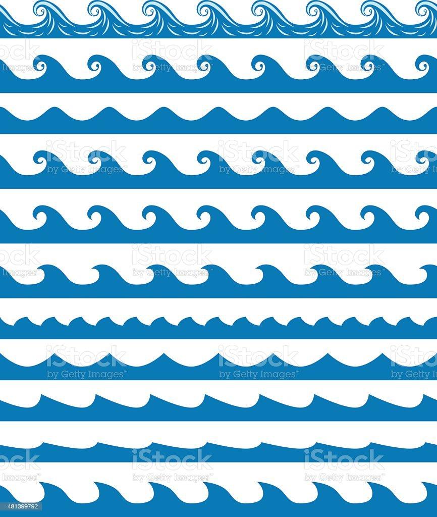 Seamless waves patterns set vector art illustration
