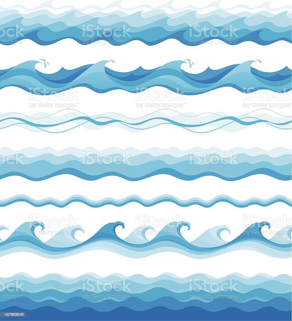 Seamless waves vector art illustration