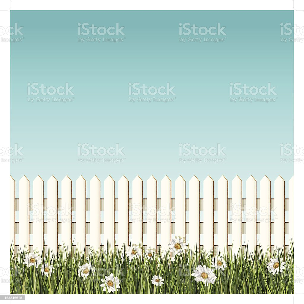 seamless white picket fence and daisys background vector art illustration