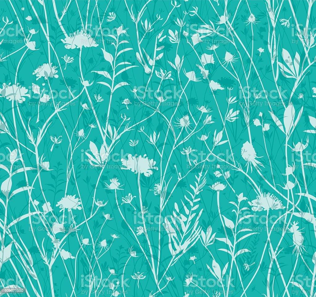 Seamless wildflowers pattern. vector art illustration