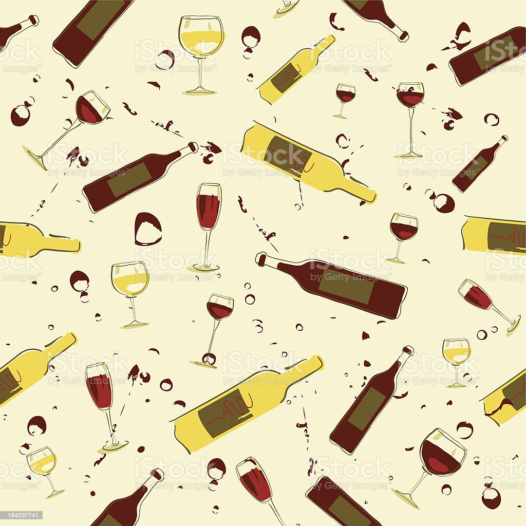 Seamless Wine Background vector art illustration