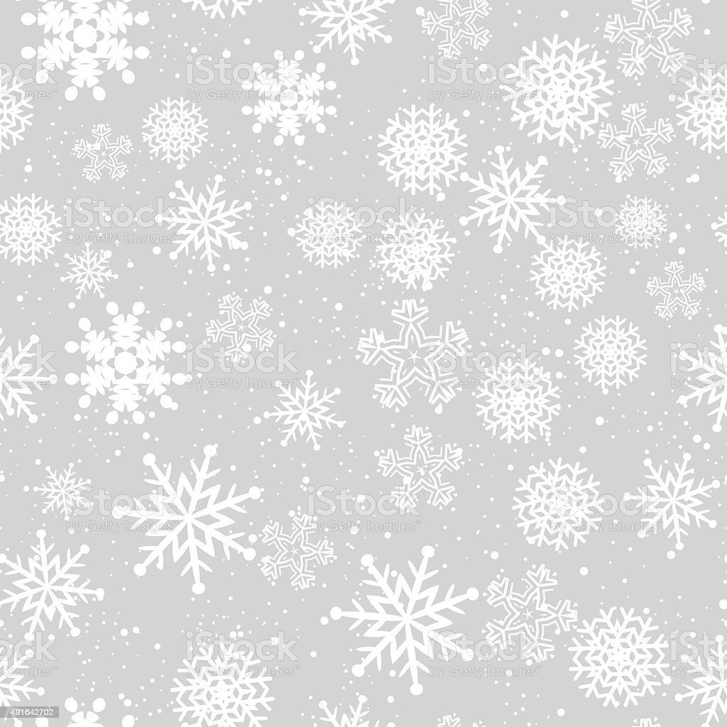 Seamless winter background with snowflakes vector art illustration