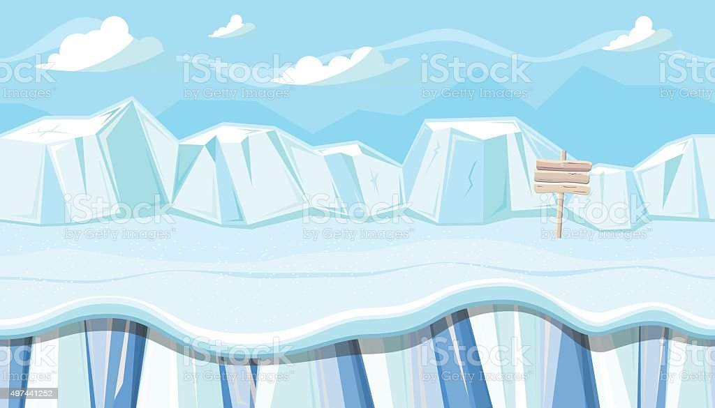 Seamless winter landscape with icebergs for Christmas game design vector art illustration