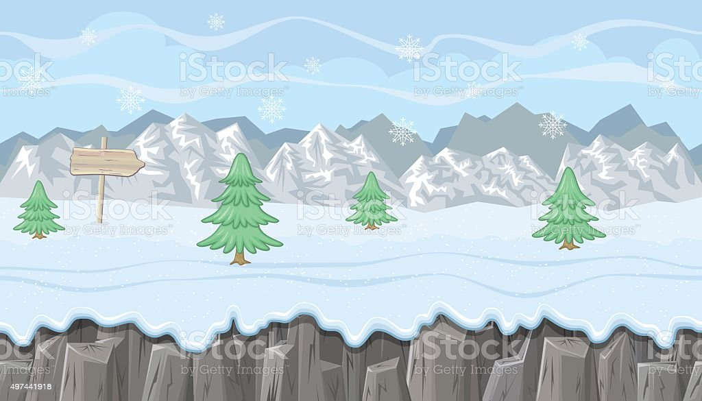 Seamless winter landscape with mountains and firs for  game design vector art illustration