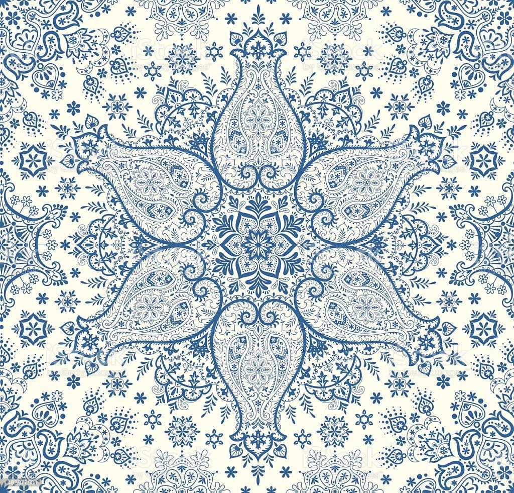 Seamless winter paisley vector art illustration