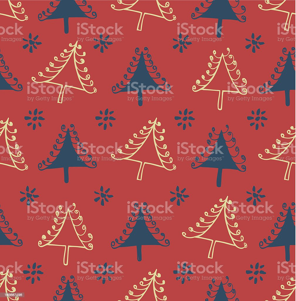 Seamless winter pattern with Christmas trees royalty-free stock vector art