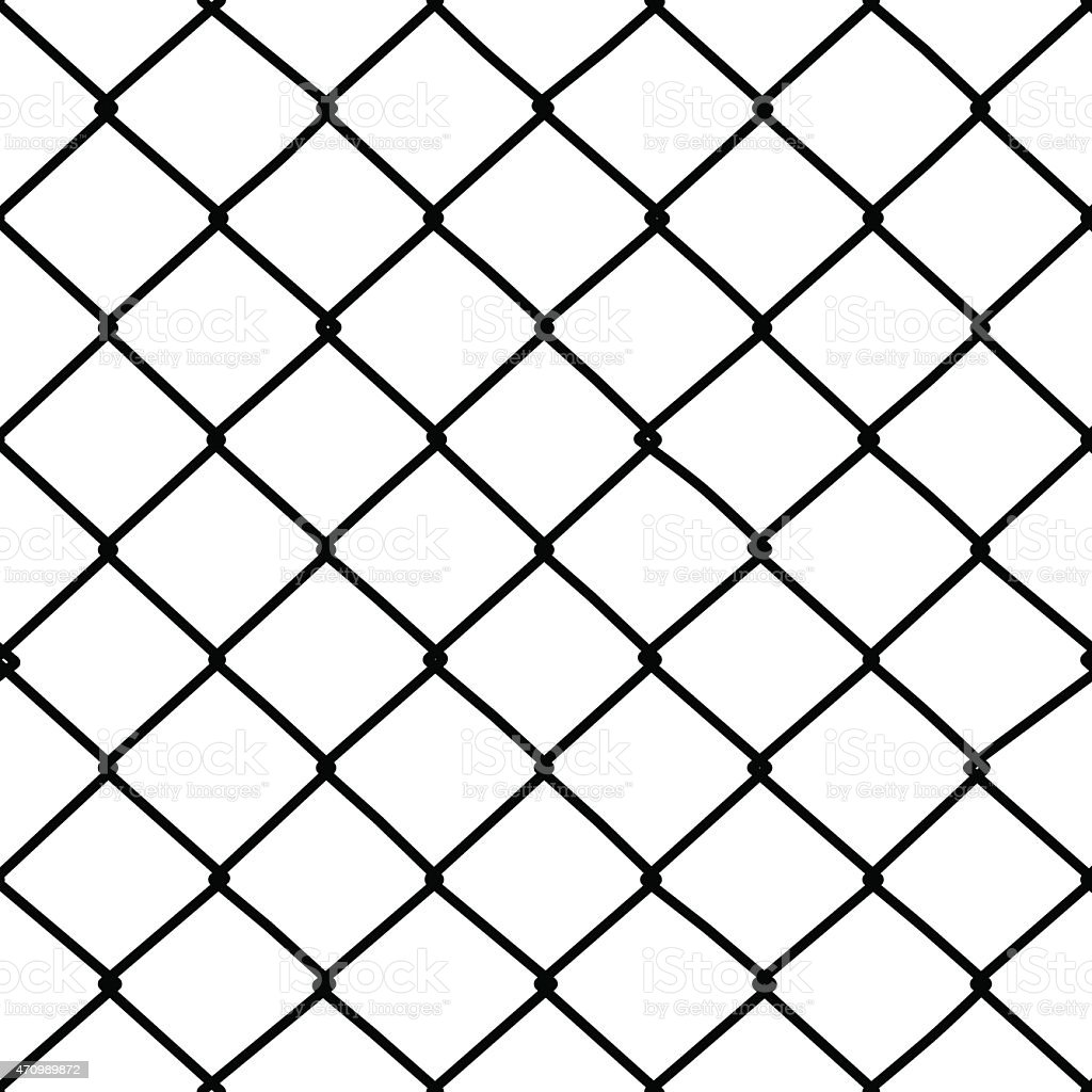 Seamless wire fence pattern vector art illustration