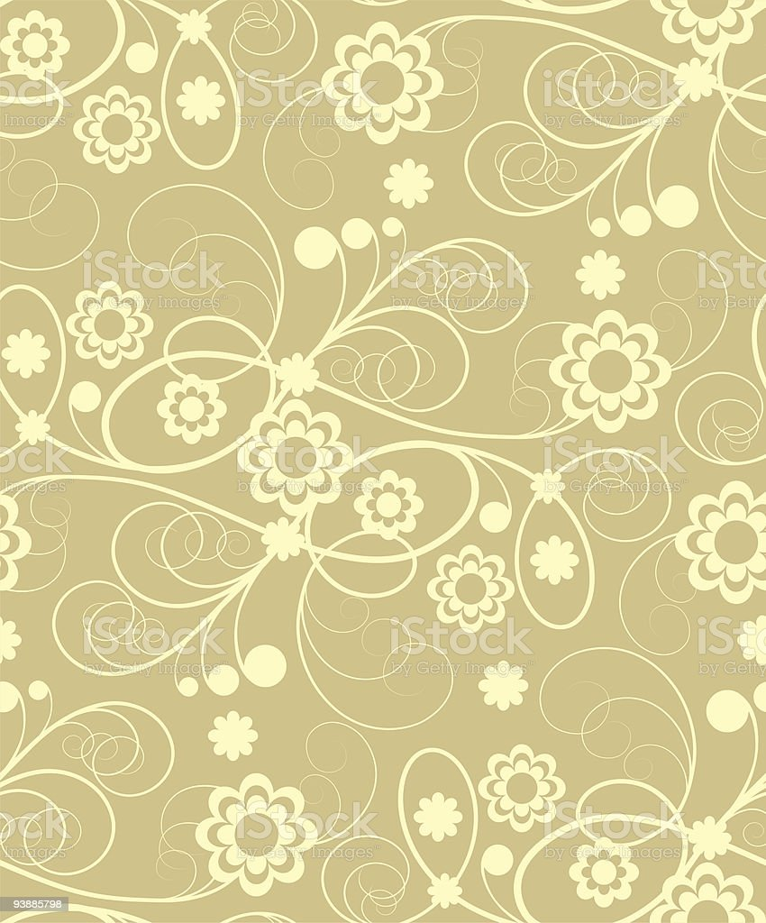Seamless  with beige flowers royalty-free stock vector art