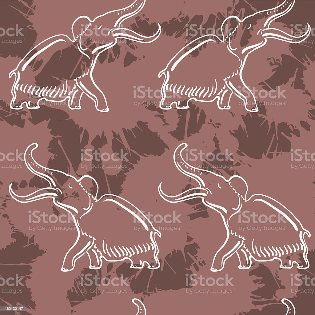 Seamless with mammoth royalty-free stock vector art