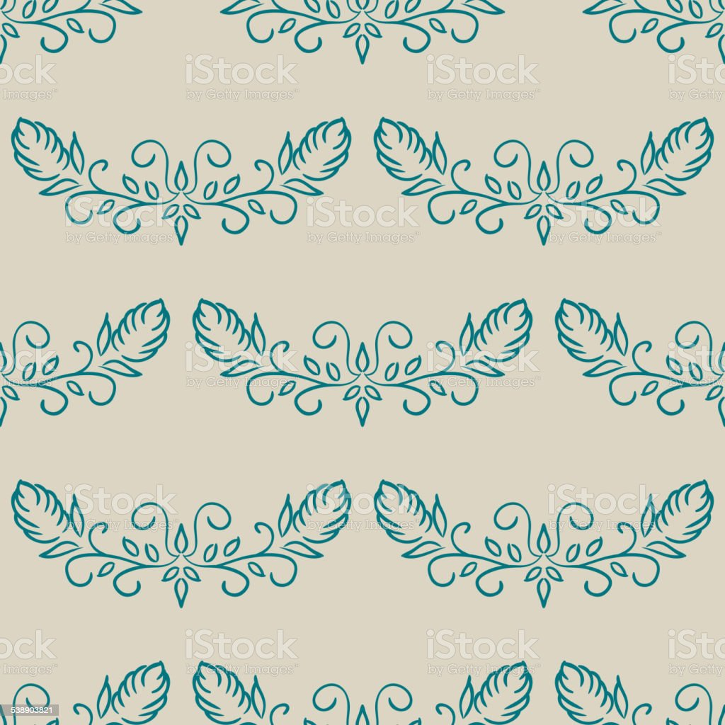Seamless with vintage floral pattern vector art illustration