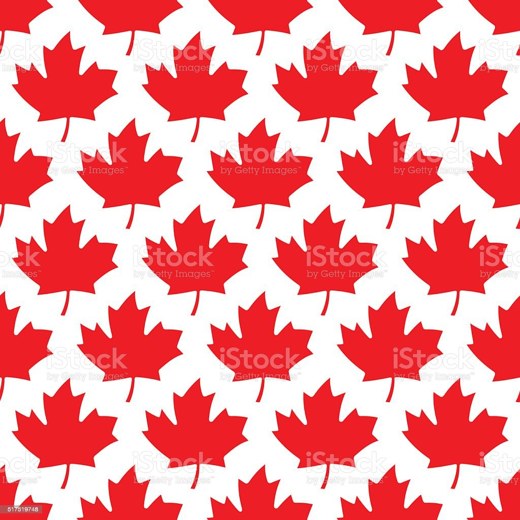 seamless wrapping paper - red maple leafs vector art illustration
