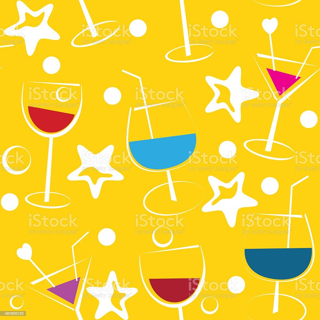 Seamless yellow background with cocktails vector art illustration