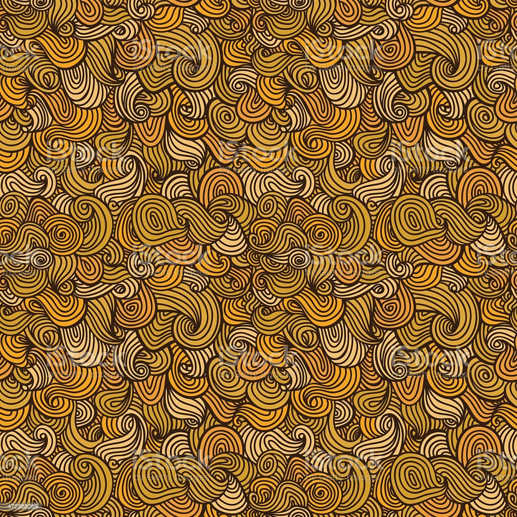 Seamless yellow doodle texture with waves and spirals vector art illustration
