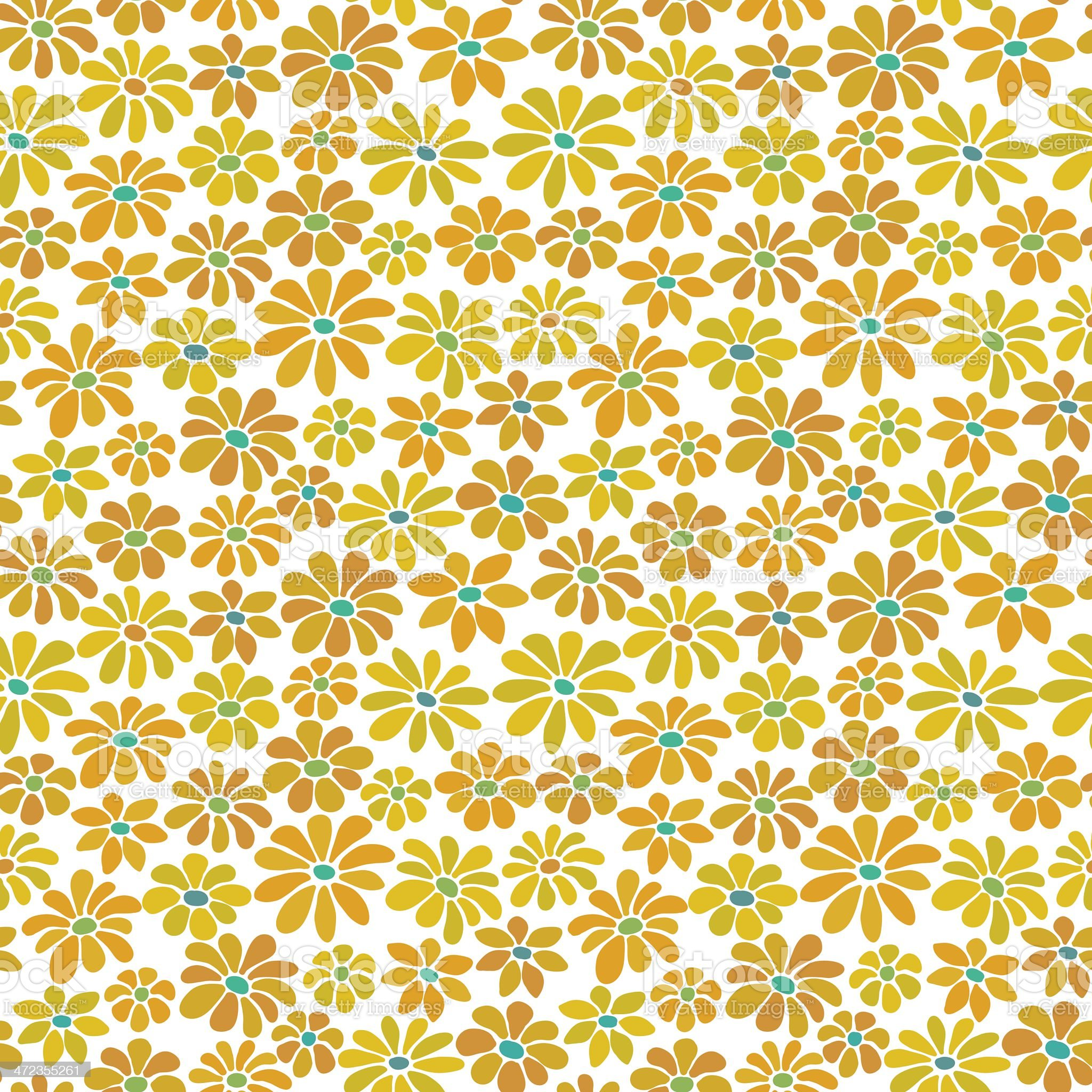 Seamless yellow retro floral pattern royalty-free stock vector art