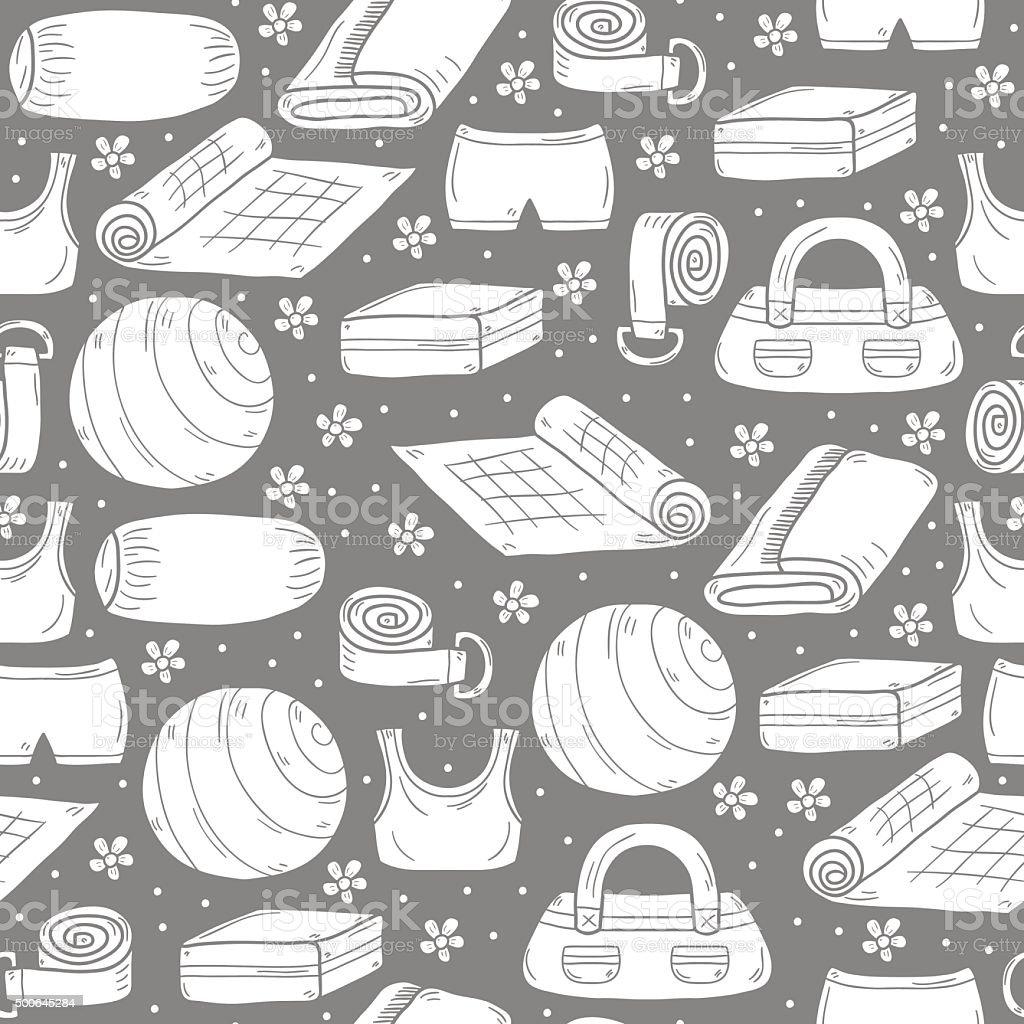 Seamless yoga equipment backgroun vector art illustration