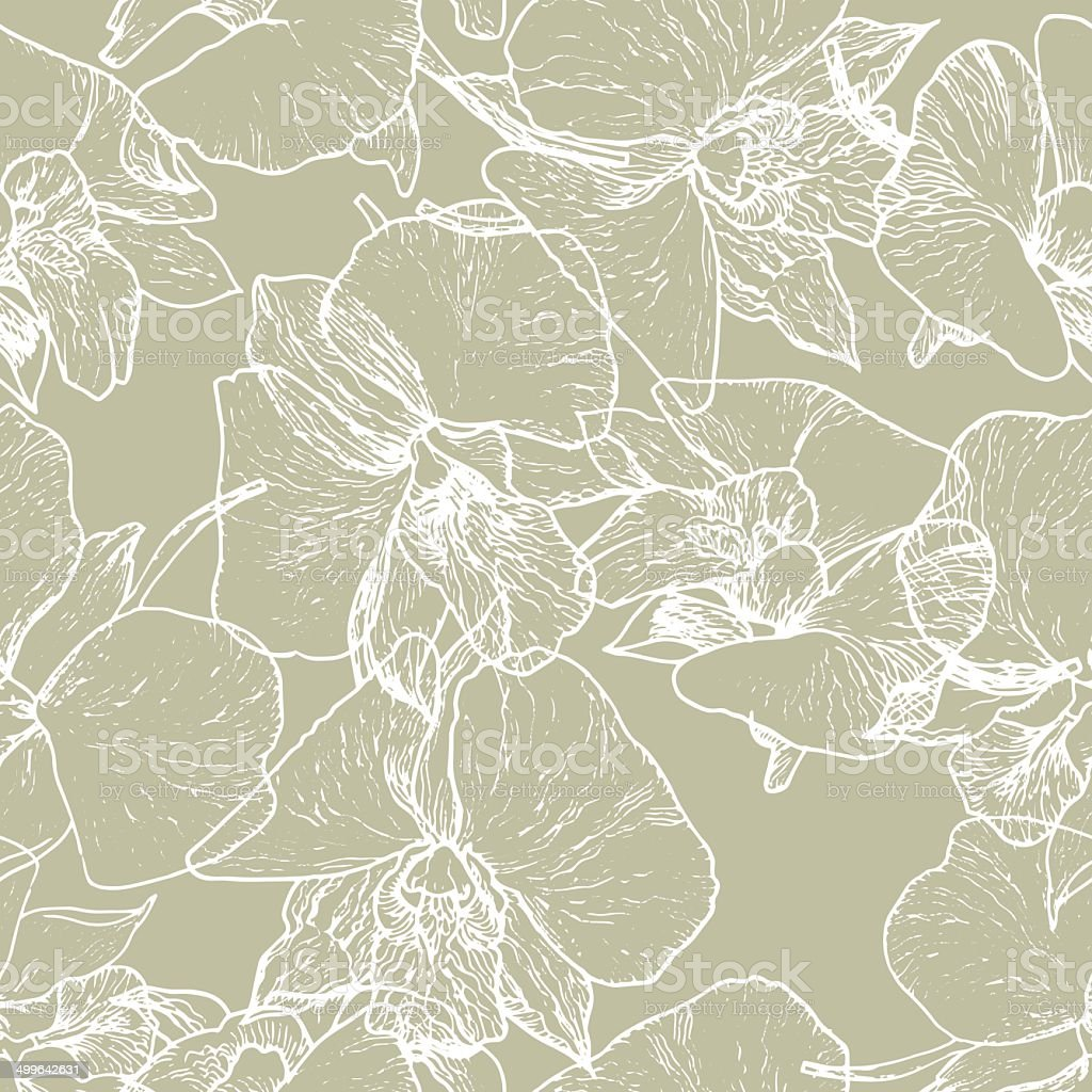 seamless_vector_pattern_with_flower_of_orchid_beige_and_white royalty-free stock vector art