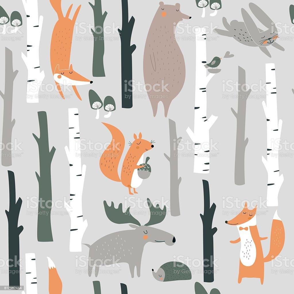 seamlessbirchforest vector art illustration