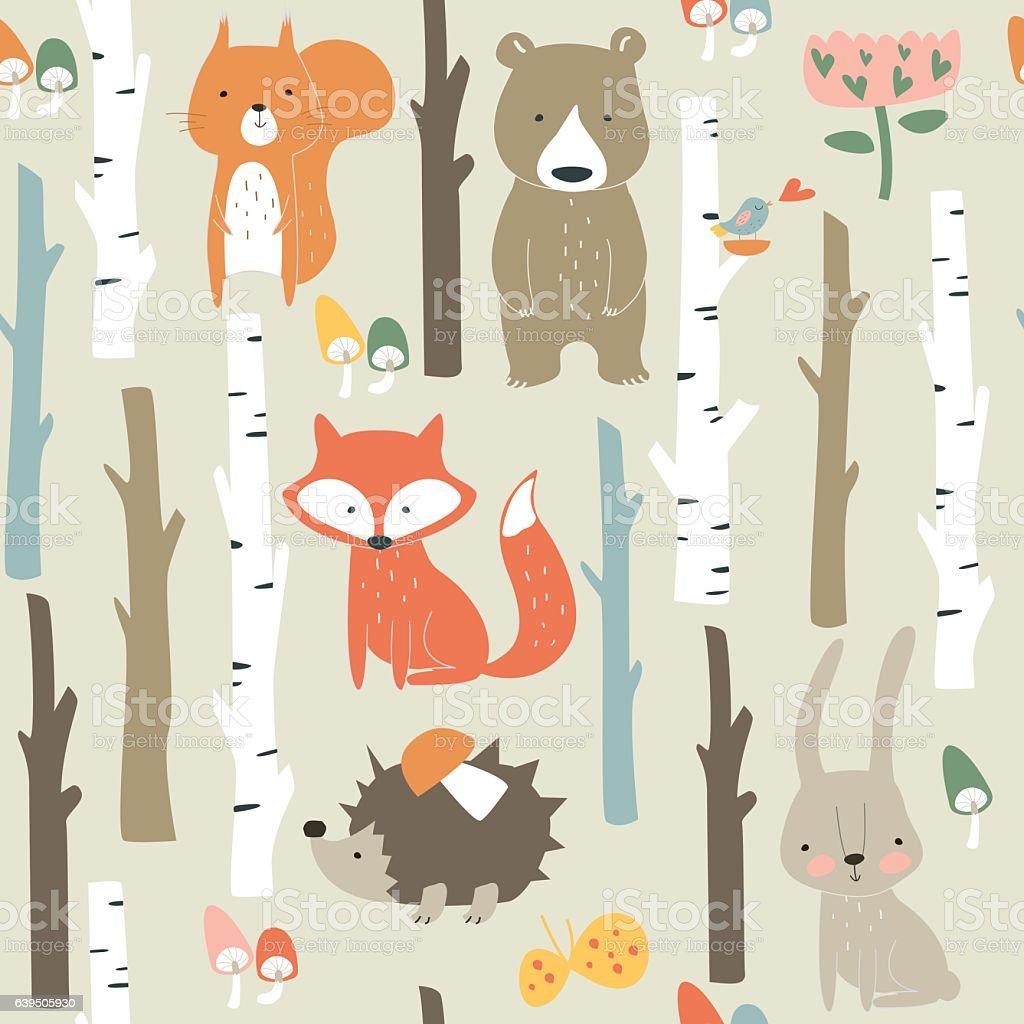 seamlessbirchforestpopcolor vector art illustration