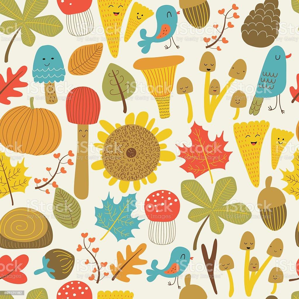 seamlessfallmushrooms vector art illustration