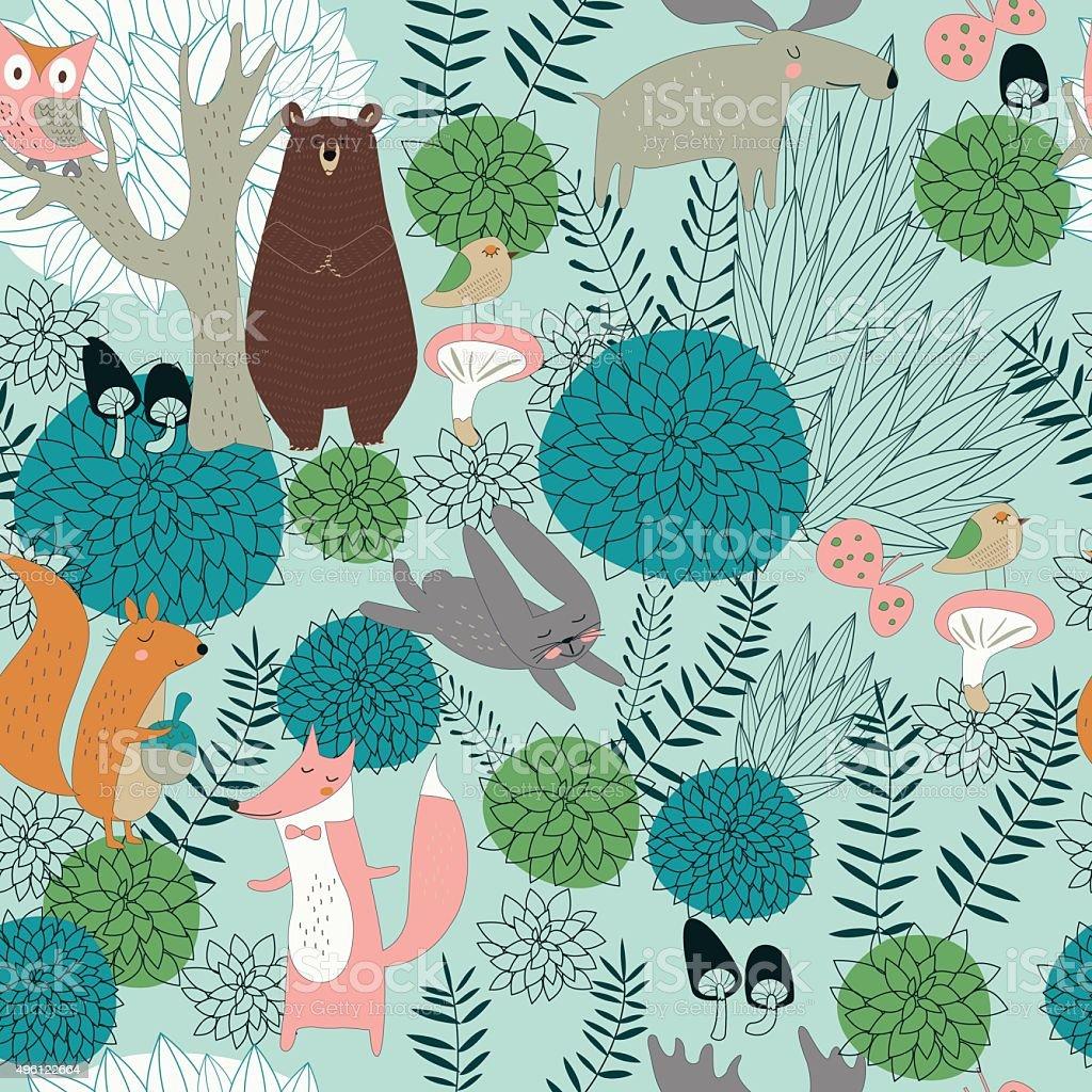 seamlessgreenforest vector art illustration