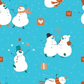 Seamless-pattern-Big-party-Set-of-funny-dancing-snowmen
