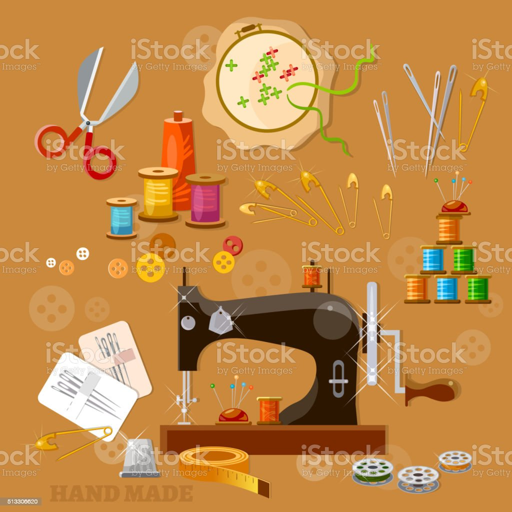 Seamstress and tailor sewing machine tools for scrapbooking vector art illustration