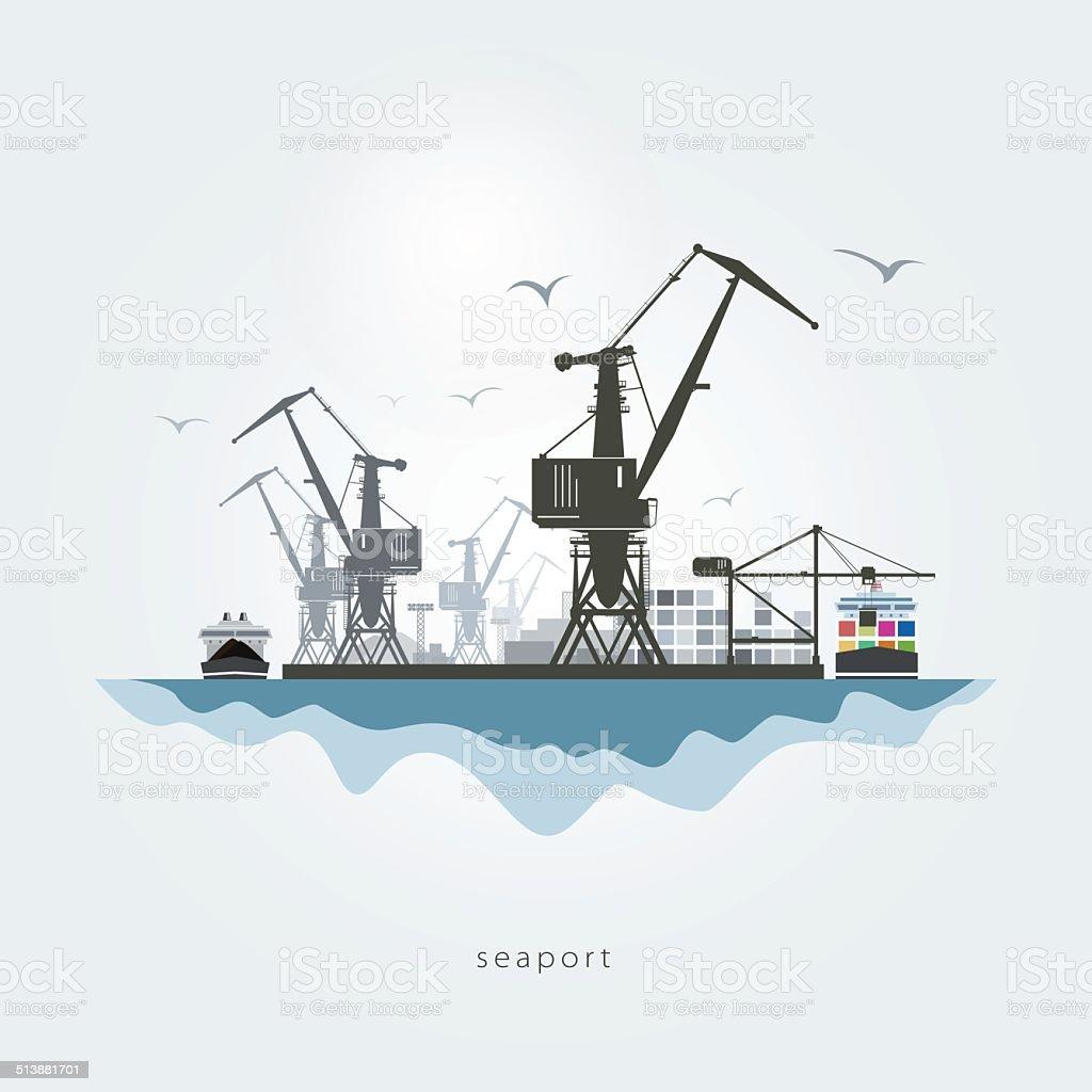 Seaport vector art illustration
