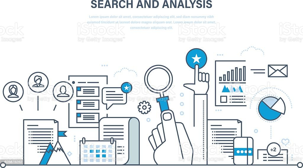 Search and analysis of information, communication, services, marketing, research. vector art illustration