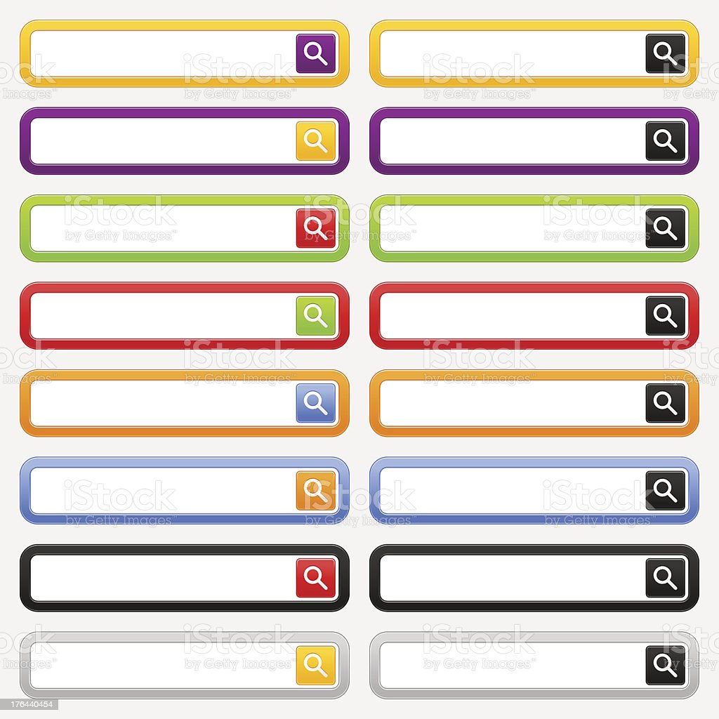 Search bar loupe rounded square icon color form web template royalty-free stock vector art