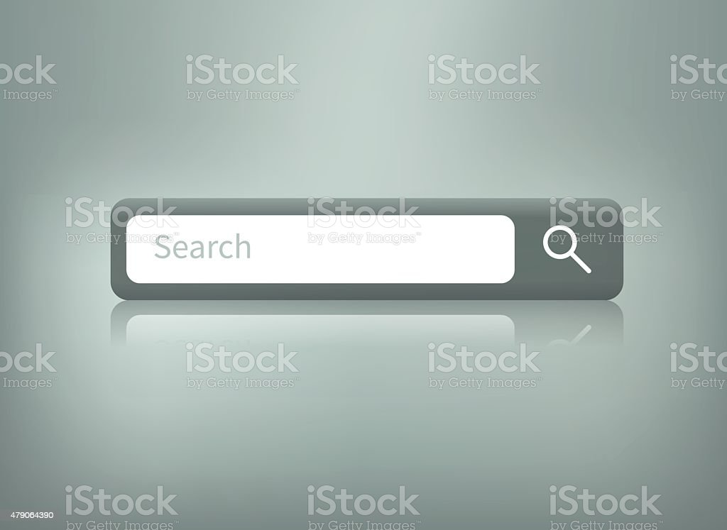 search button with reflection vector art illustration