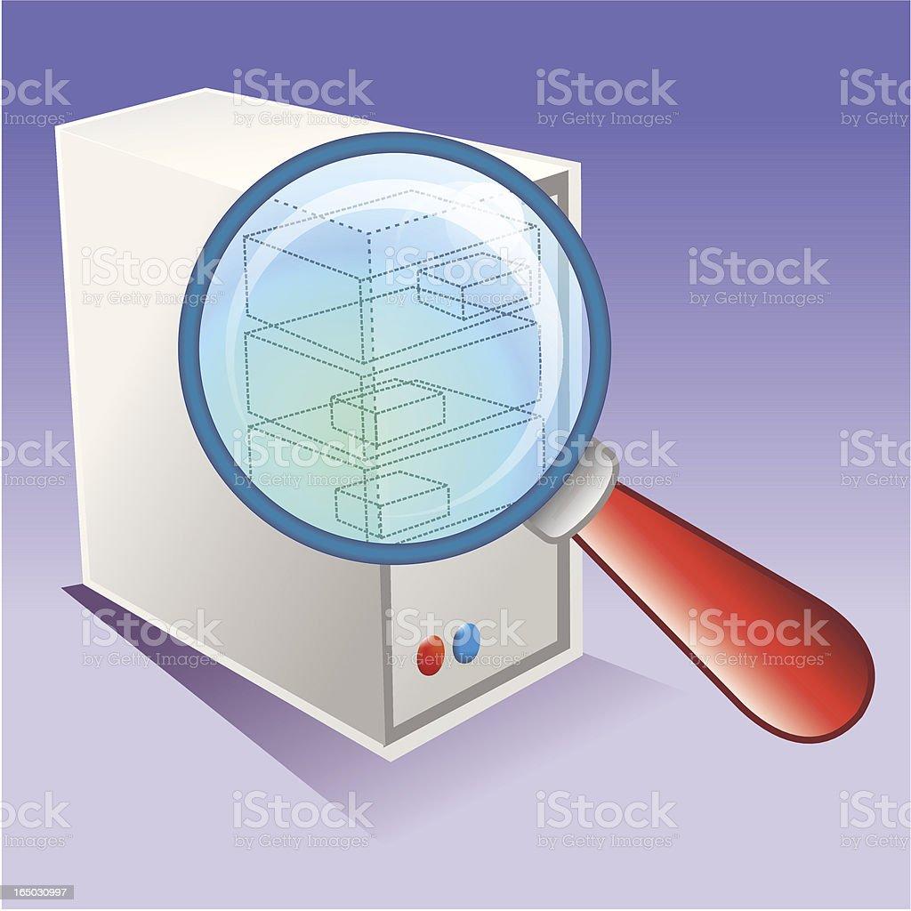Búsqueda de hardware de computadora (Sistema - ilustración de arte vectorial