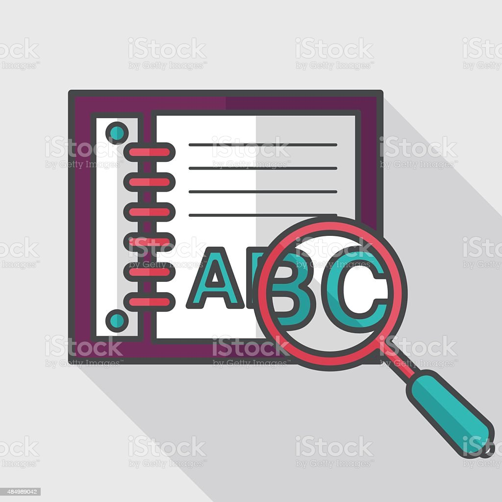 search Dictionary book flat icon with long shadow,eps10 vector art illustration