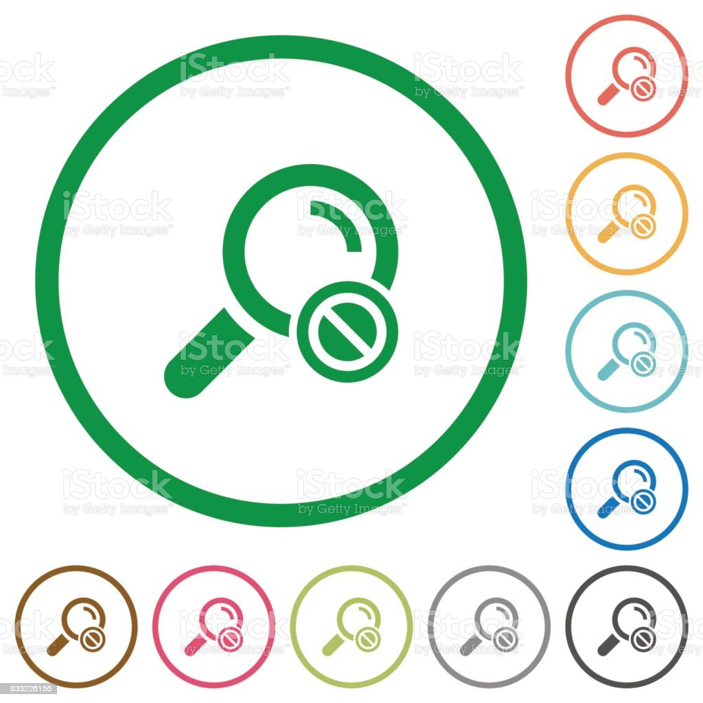 Search disabled flat icons with outlines vector art illustration