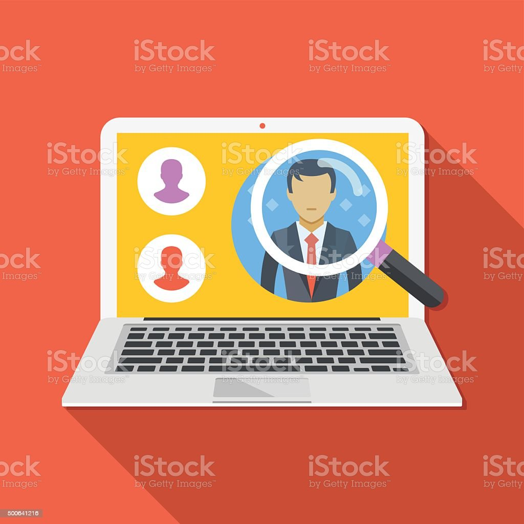Search employee concept. Looking for professional staff vector art illustration